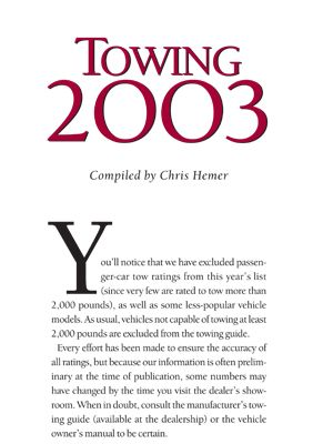 2003 Towing Guide